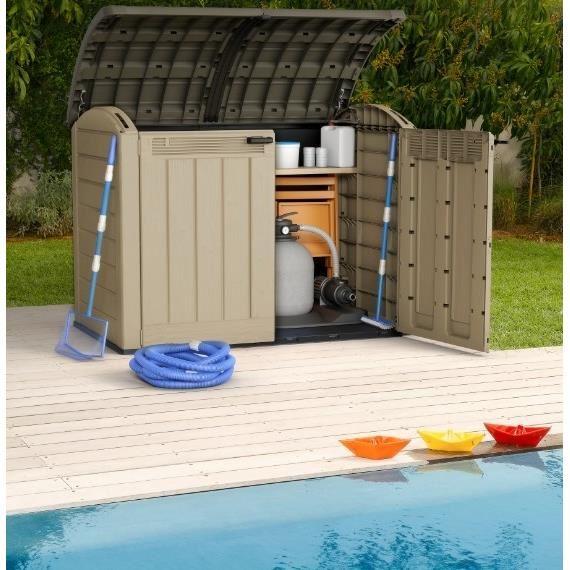 Chalet et jardin coffre de rangement multifonctions en for Local technique piscine resine