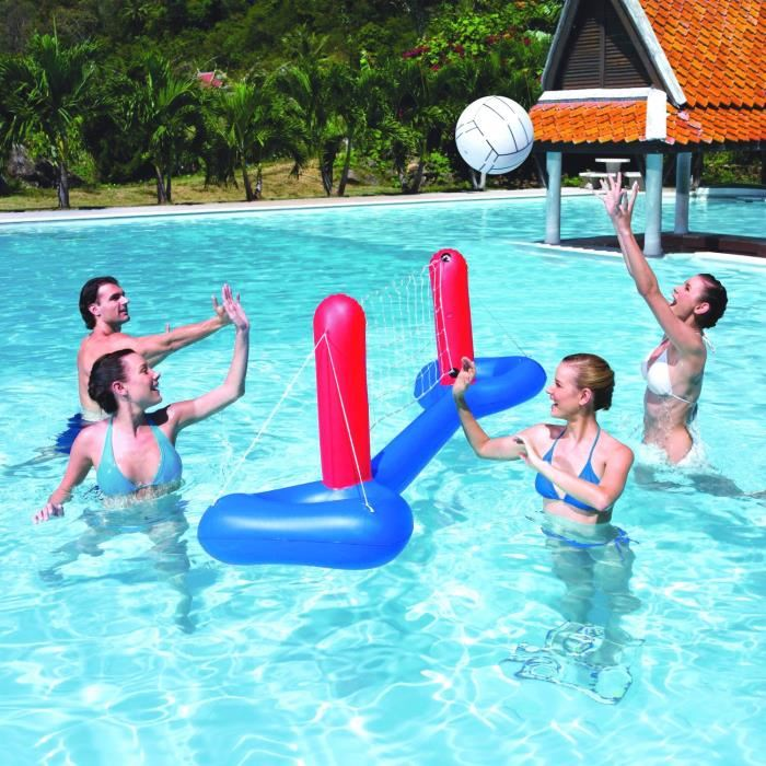 Bestway jeu de volley gonflable avec ballon pour piscine for Piscine a balle gonflable