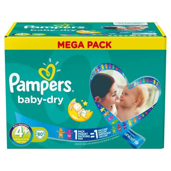 Pampers baby dry taille 4 maxi plus 9 20 kg mega pack - Prix couches pampers baby dry taille 4 ...
