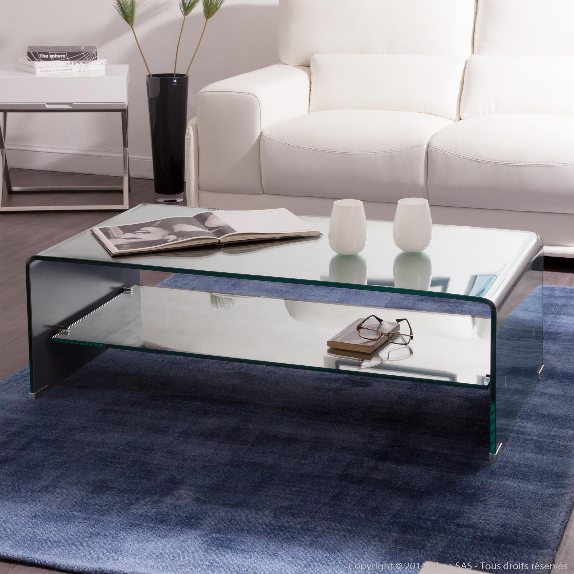Table basse rectangulaire hegoa en verre courb avec for Table basse rectangulaire en verre