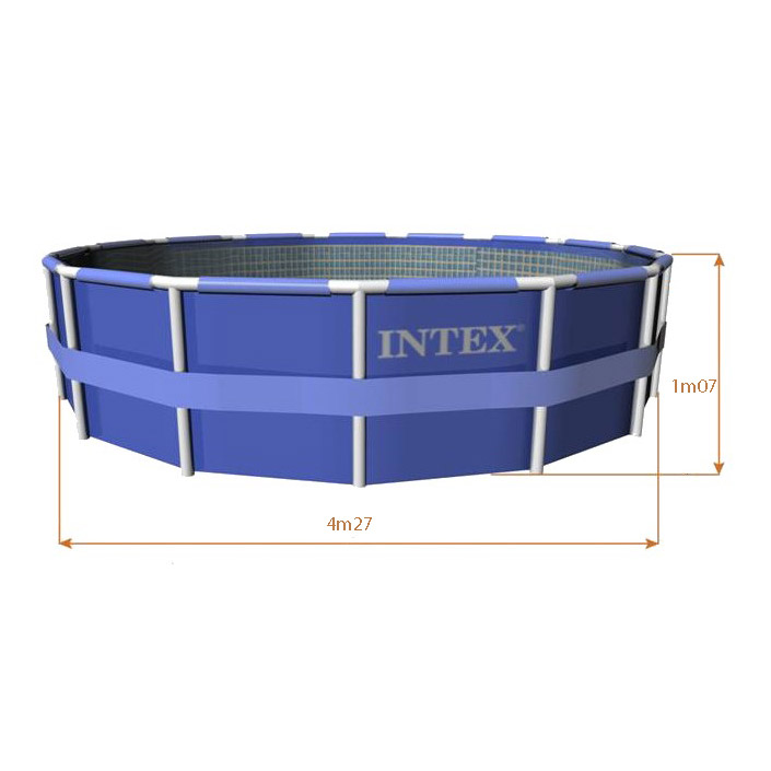 Intex 56969fr piscine hors sol tubulaire ronde metal for Piscine tubulaire intex castorama