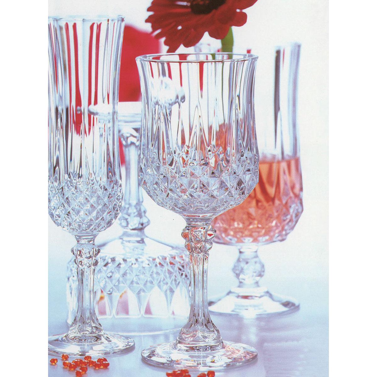 cristal d 39 arques g5186 6 verres pied longchamp 25 cl. Black Bedroom Furniture Sets. Home Design Ideas