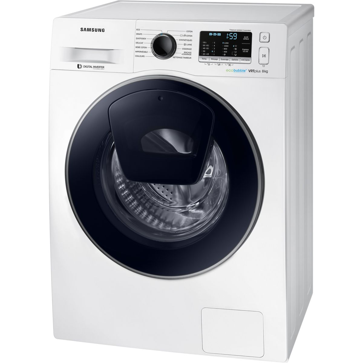 samsung ww80k5210vw lave linge frontal 8 kg comparer. Black Bedroom Furniture Sets. Home Design Ideas