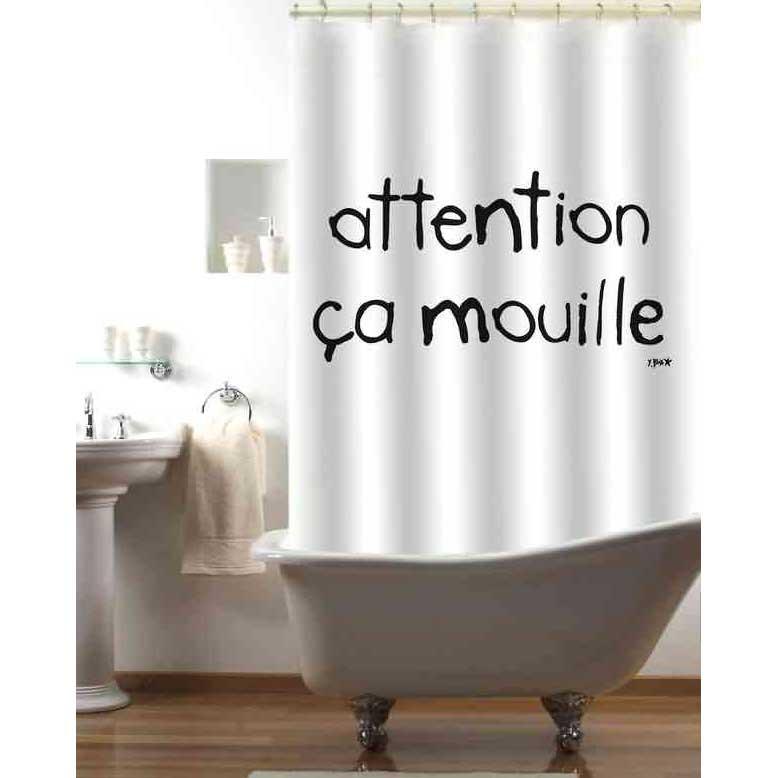 Incidence Rideau De Douche Attention Ca Mouille 180 X 180 Cm