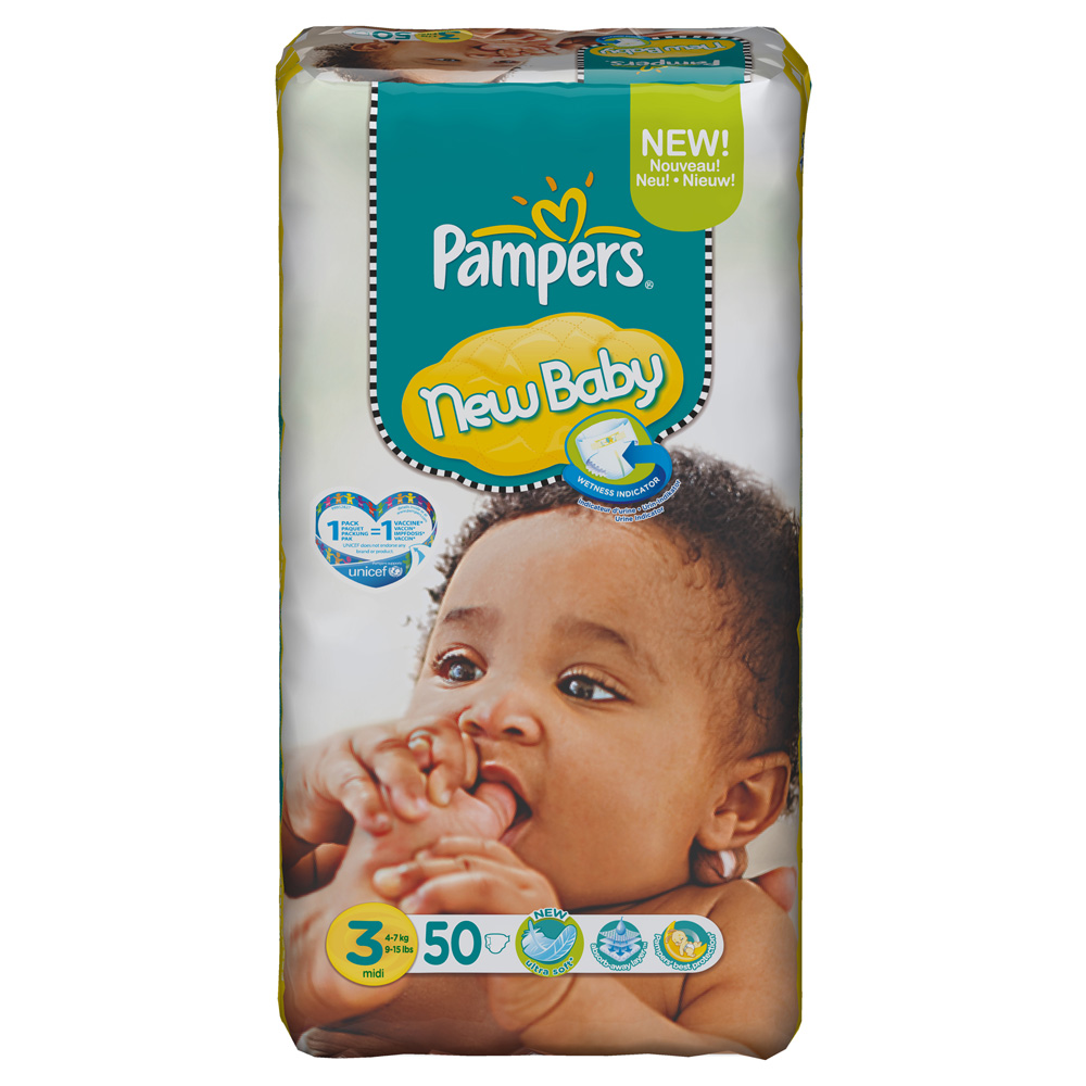 Pampers new baby taille 3 midi 4 7 kg 50 couches - Prix couches pampers new baby taille 1 ...