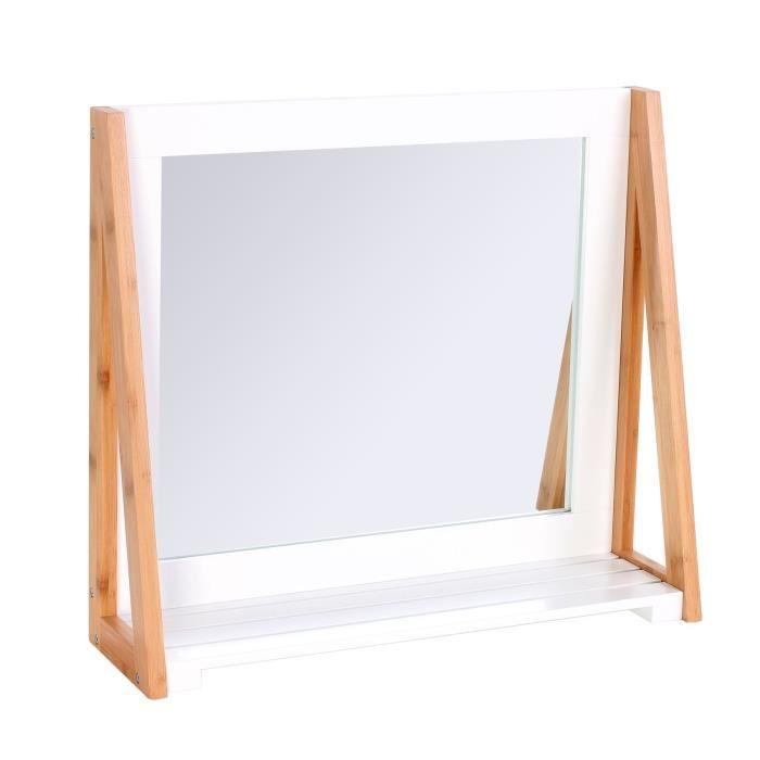 Miroir Avec Tablette En Bambou 15 X 44 X 50 Cm