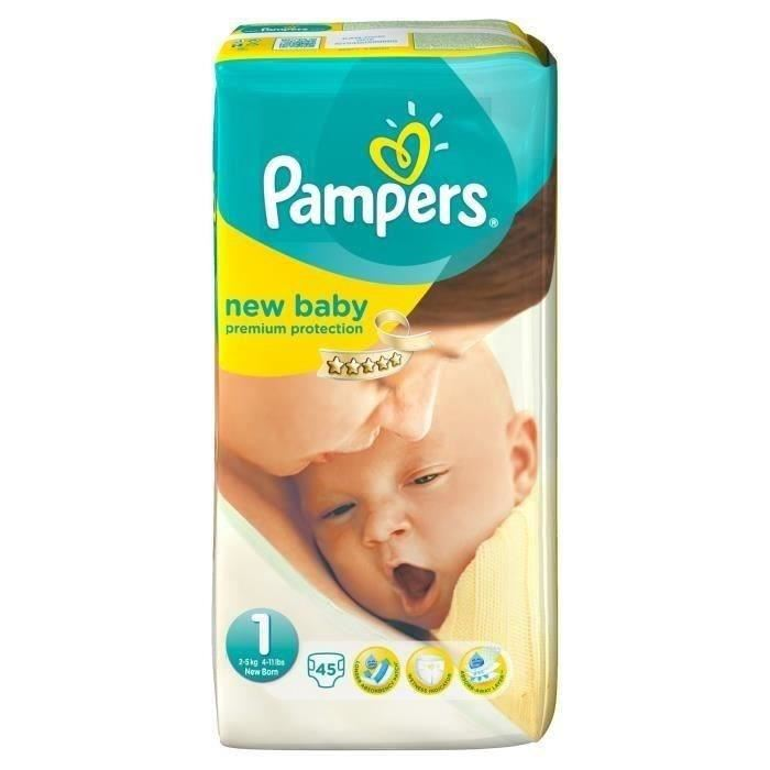 Pampers new baby taille 1 2 5 kg 45 couches comparer - Couches pampers taille 4 comparateur prix ...