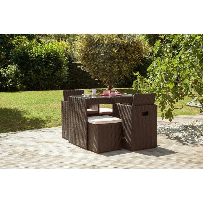 Ensemble encastrable table de jardin, 2 fauteuils et 2 poufs ...