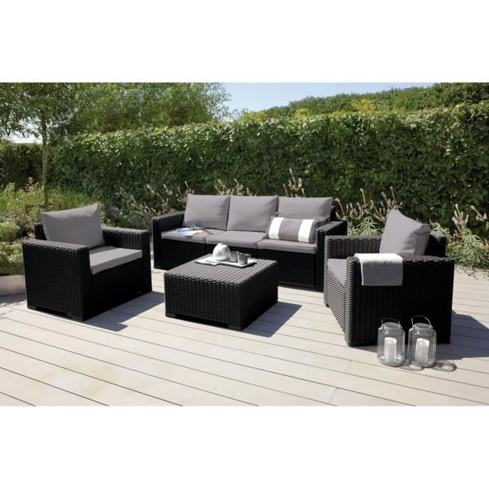 Allibert Salon de jardin California 5 places aspect rotin rond ...