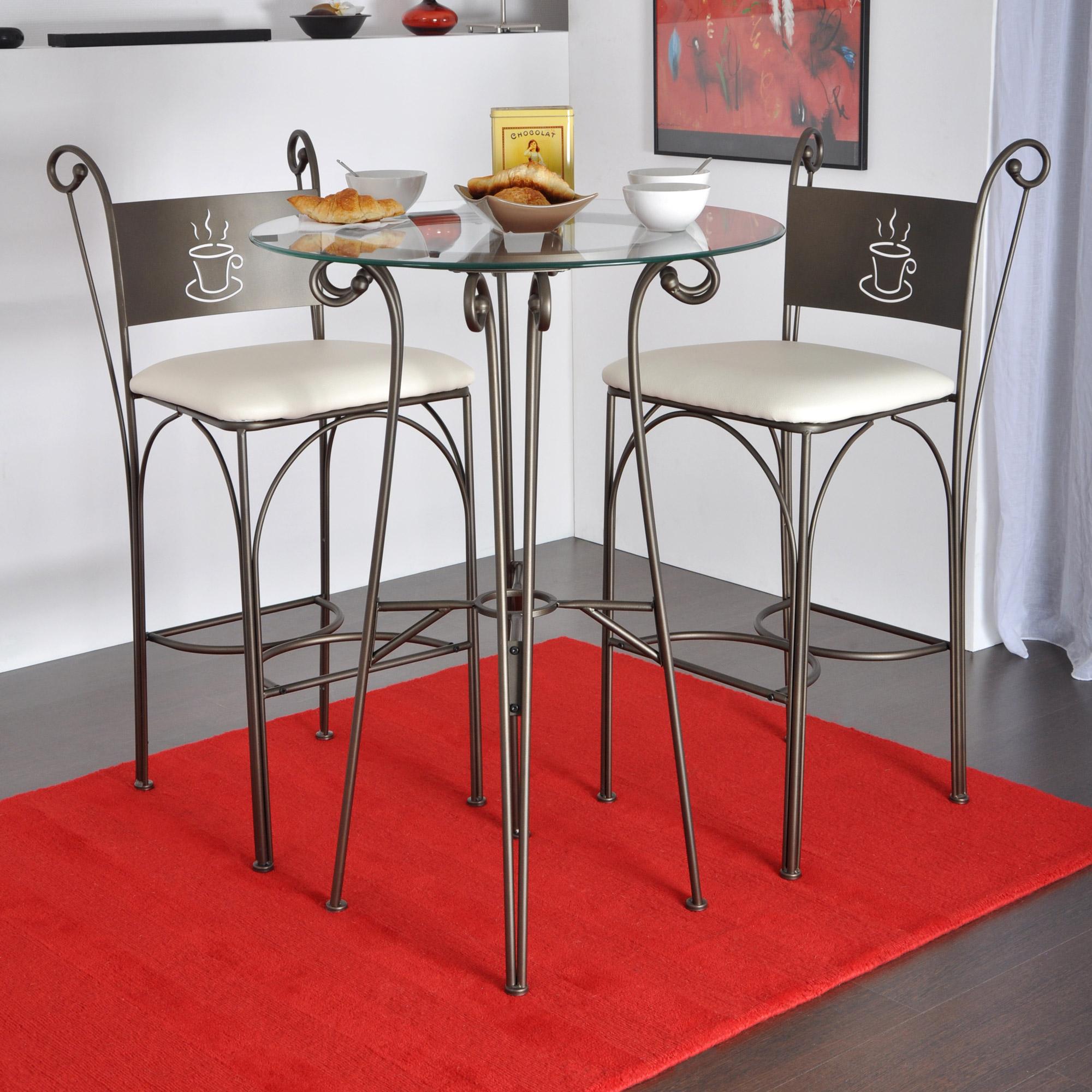 table haute ronde en verre gringo comparer avec. Black Bedroom Furniture Sets. Home Design Ideas