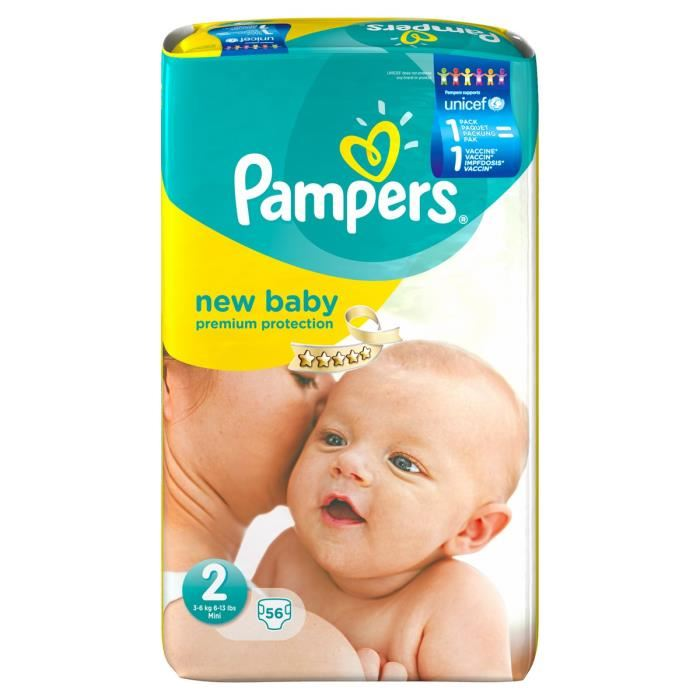 pampers new baby taille 2 mini 3 6 kg 56 couches. Black Bedroom Furniture Sets. Home Design Ideas