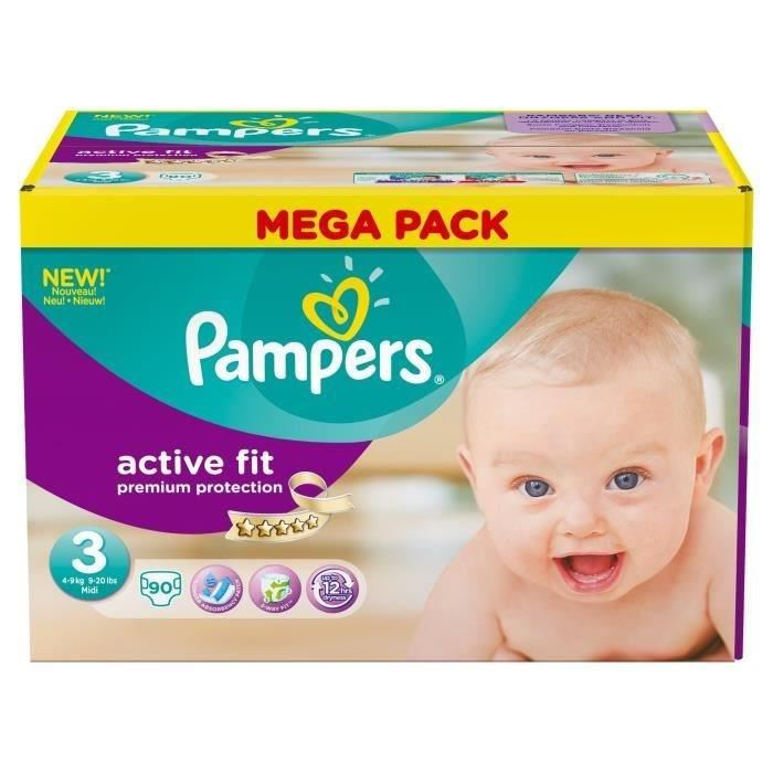 pampers active fit taille 3 midi 4 9 kg 90 couches. Black Bedroom Furniture Sets. Home Design Ideas