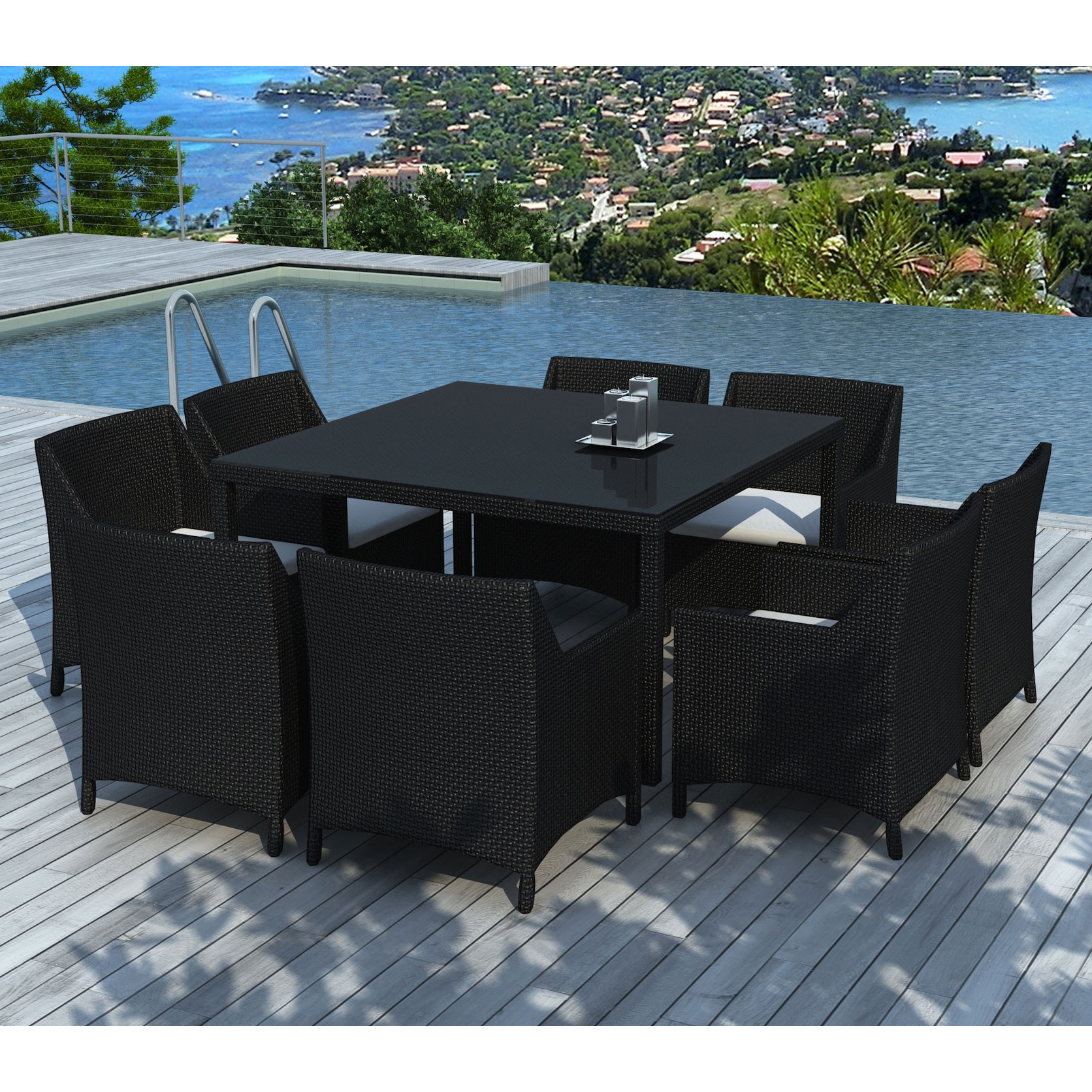 table de jardin en r sine tress e avec 8 fauteuils. Black Bedroom Furniture Sets. Home Design Ideas