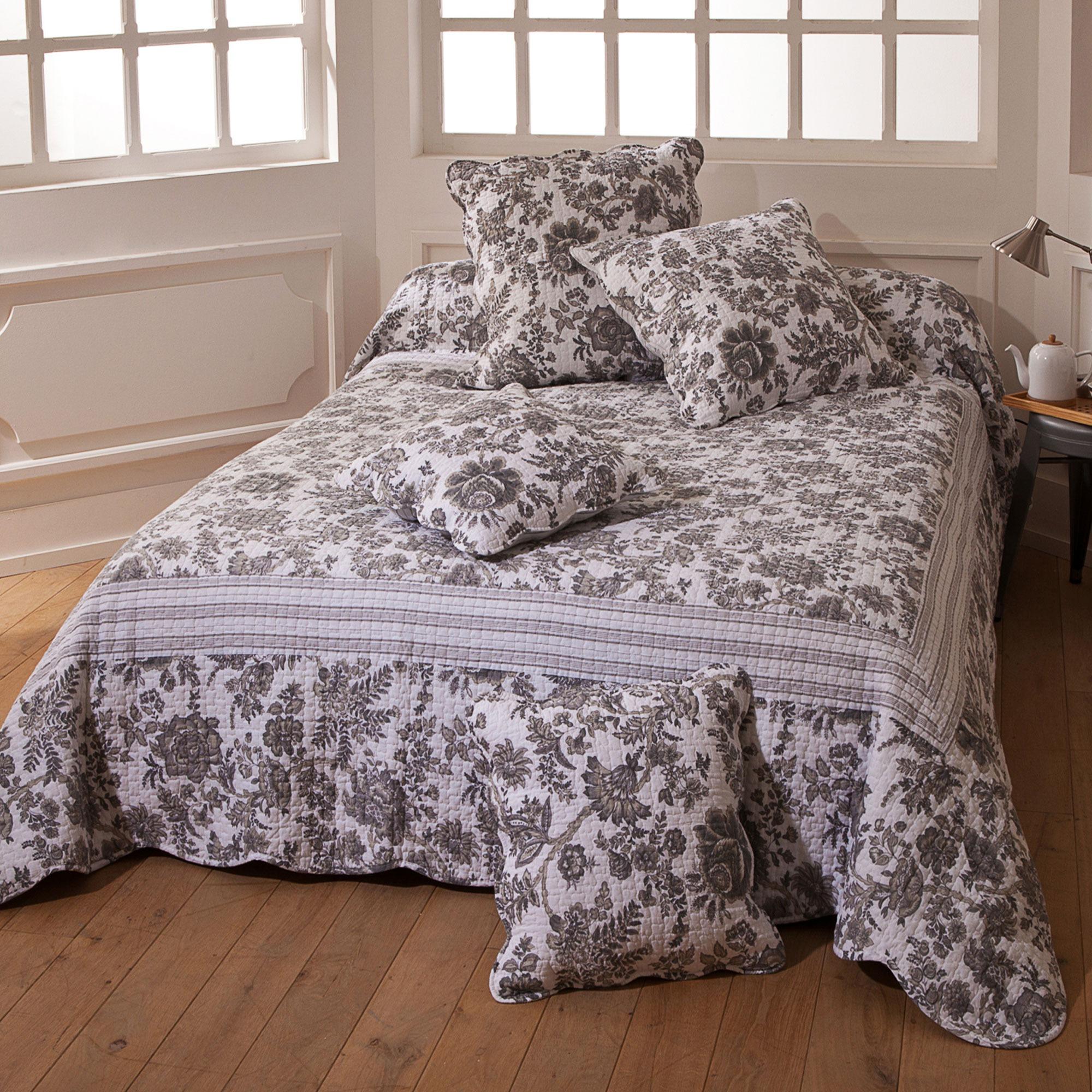 soleil d'ocre jeté de lit boutis matelassé et réversible (180 x 230