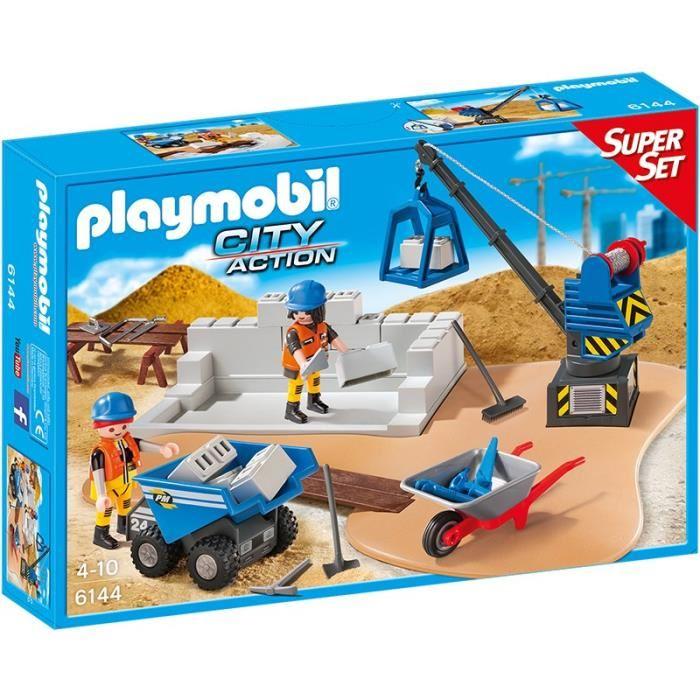Playmobil 6144 city action super set chantier comparer - Betonniere playmobil ...