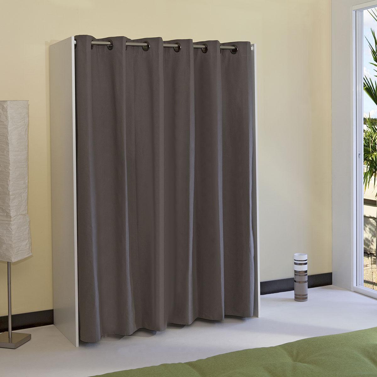 armoire dressing extensible 1 colonne avec rideau comparer avec. Black Bedroom Furniture Sets. Home Design Ideas