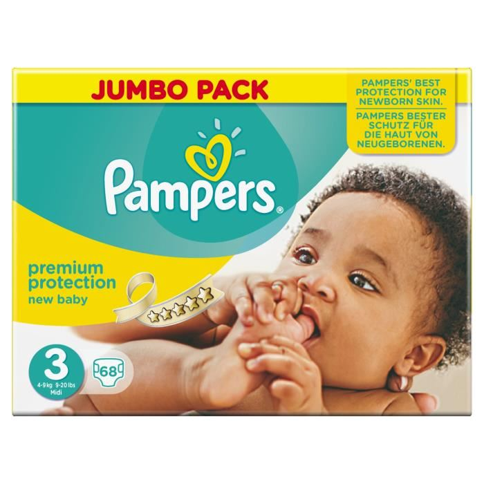 pampers new baby taille 3 midi 4 9 kg jumbo pack x 68. Black Bedroom Furniture Sets. Home Design Ideas