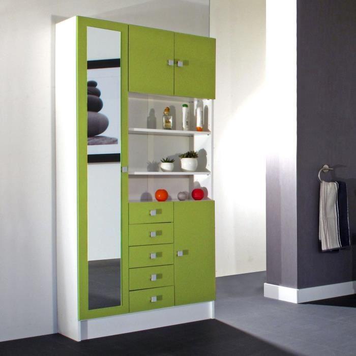 armoire banio vec miroir 4 portes 5 tiroirs 3 niches en bois comparer avec. Black Bedroom Furniture Sets. Home Design Ideas