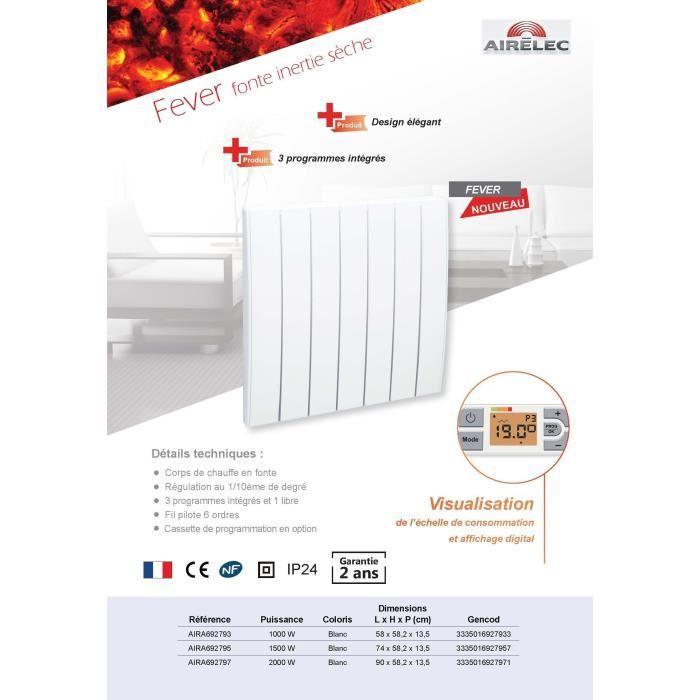 airelec fever 1500 watts a692795 radiateur inertie fonte comparer avec. Black Bedroom Furniture Sets. Home Design Ideas