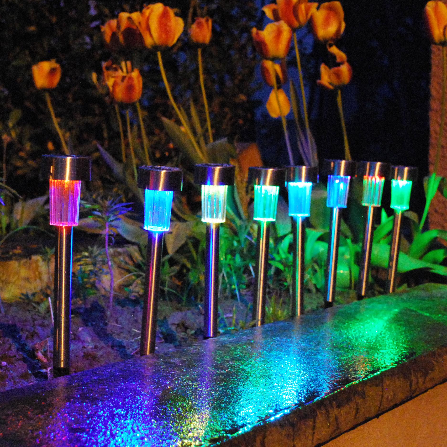 Galix 8 lanternes solaires multicolores en inox - Comparer avec ...
