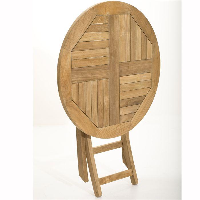 Table de jardin ronde pliante en teck massif Ø80 x 75 cm - Comparer ...