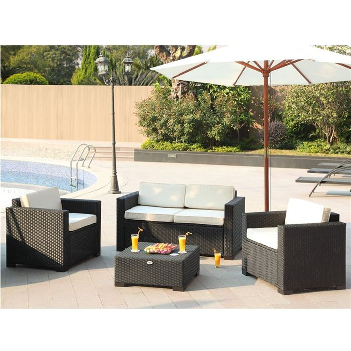 beau rivage bali salon de jardin en r sine tress e acier comparer avec. Black Bedroom Furniture Sets. Home Design Ideas