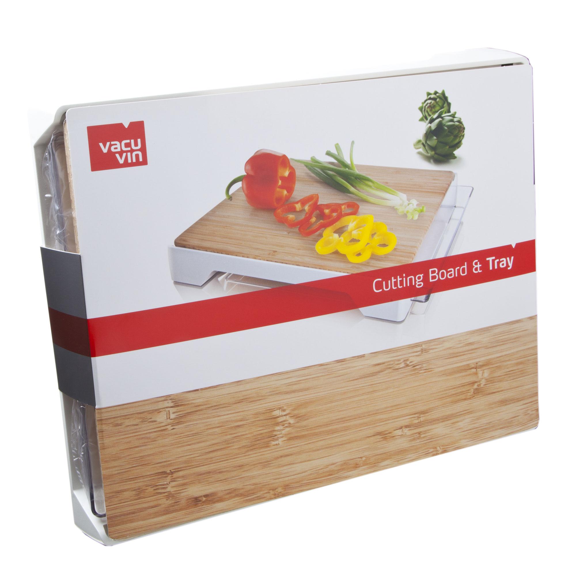 bdx vacuvin planche d couper tray en bambou avec bac de. Black Bedroom Furniture Sets. Home Design Ideas