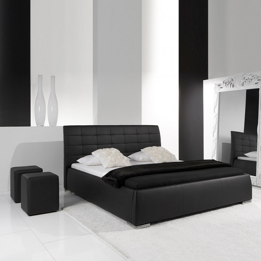 lit rembourr clou avec t te de lit matelass e 180 x 200 cm comparer avec. Black Bedroom Furniture Sets. Home Design Ideas