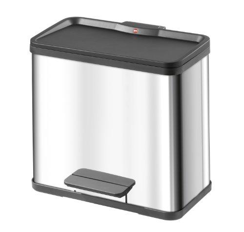 Hailo 0630 019 poubelle de tri trento oko duo en inox 11 for Habitat poubelle cuisine