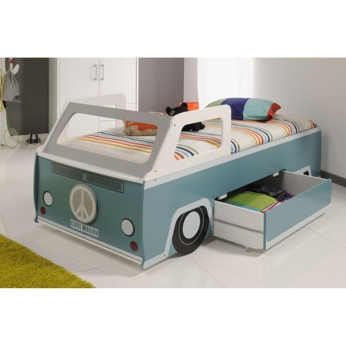 Lit Voiture Cool Wagon Avec Rangement Et Sommier X Cm - Lit avec rangement 90x200