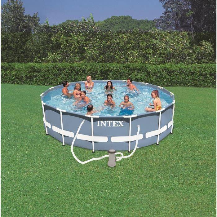 Intex 28234 piscine tubulaire prism frame ronde 4 57 x 1 for Piscine ronde intex